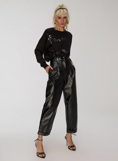 People By Fabrika Suni Deri Yüksek Bel Pantolon Siyah